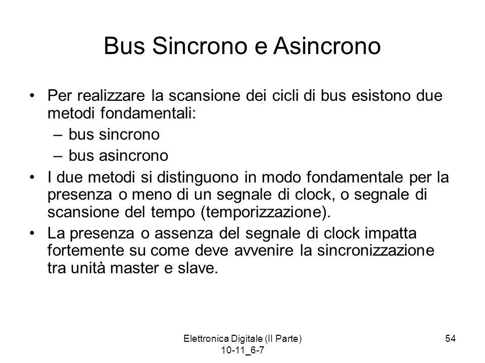 Elettronica Digitale (II Parte) 10-11_6-7 54 Bus Sincrono e Asincrono Per realizzare la scansione dei cicli di bus esistono due metodi fondamentali: –