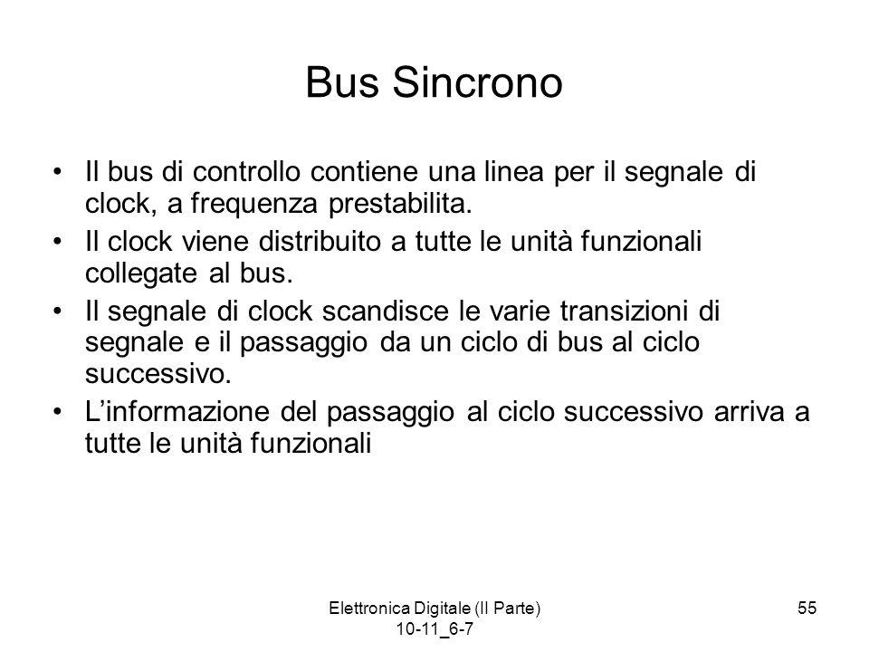 Elettronica Digitale (II Parte) 10-11_6-7 55 Bus Sincrono Il bus di controllo contiene una linea per il segnale di clock, a frequenza prestabilita. Il