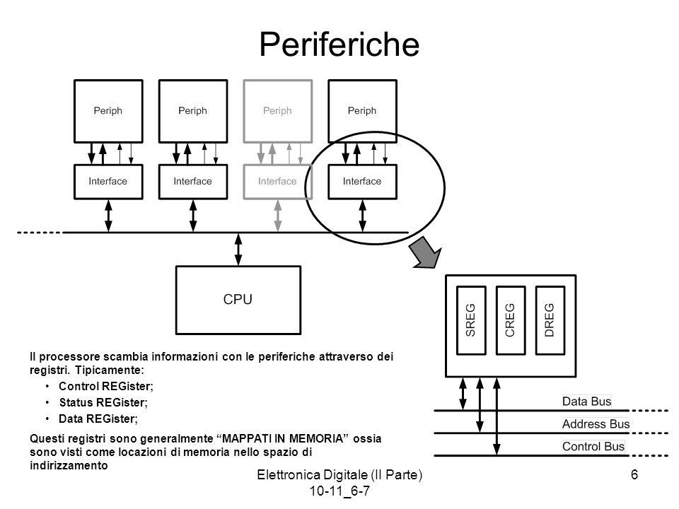 6 Periferiche Il processore scambia informazioni con le periferiche attraverso dei registri. Tipicamente: Control REGister; Status REGister; Data REGi