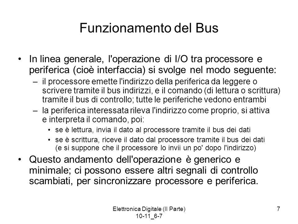 Elettronica Digitale (II Parte) 10-11_6-7 7 Funzionamento del Bus In linea generale, l'operazione di I/O tra processore e periferica (cioè interfaccia