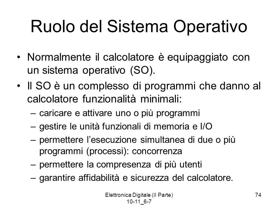 Elettronica Digitale (II Parte) 10-11_6-7 74 Ruolo del Sistema Operativo Normalmente il calcolatore è equipaggiato con un sistema operativo (SO). Il S