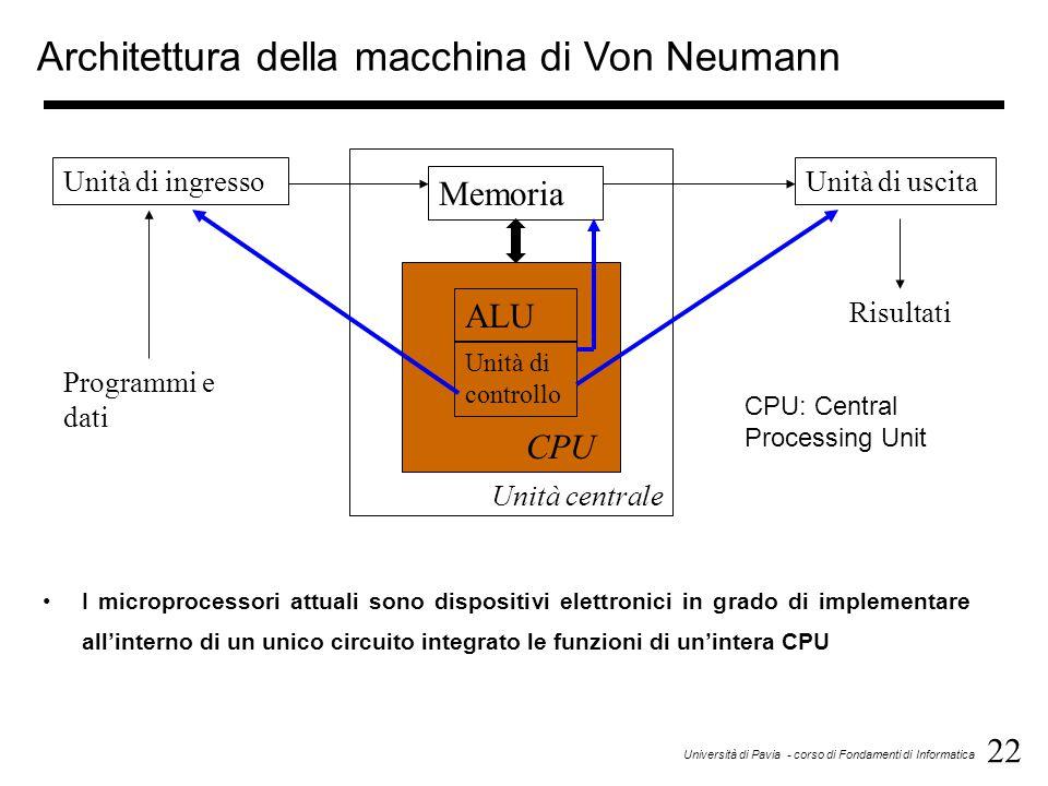 22 Università di Pavia - corso di Fondamenti di Informatica Memoria ALU Unità di controllo CPU Unità di ingressoUnità di uscita Programmi e dati Risultati Unità centrale Architettura della macchina di Von Neumann CPU: Central Processing Unit I microprocessori attuali sono dispositivi elettronici in grado di implementare all'interno di un unico circuito integrato le funzioni di un'intera CPU