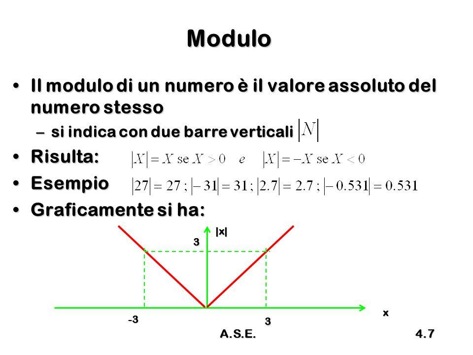 A.S.E.4.18 Esempio 1 Disponendo di 3 digit in base 10Disponendo di 3 digit in base 10 –Stabilire il max e min rappresentabile –Convertire in MS i numeri 25, 147, -13, -258 Essendo B = 10 e N = 3, risultaEssendo B = 10 e N = 3, risulta