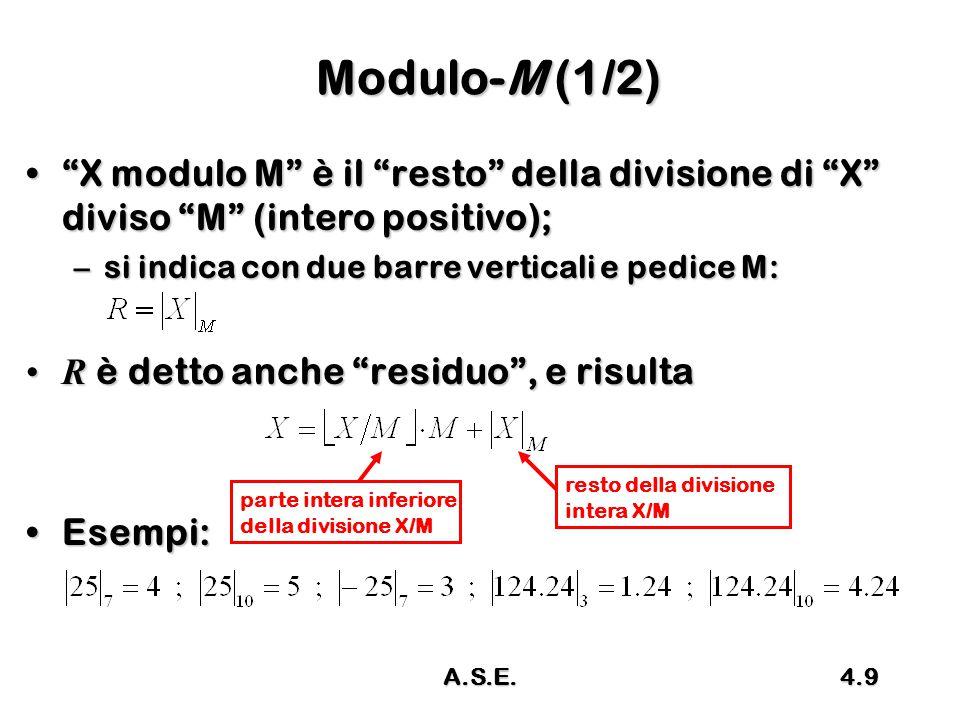 A.S.E.4.10 Modulo-M (2/2) Altra interpretazione: dato un numero X e detto R il modulo M di XAltra interpretazione: dato un numero X e detto R il modulo M di X 1° caso 0 ≤ X < M segue R = X1° caso 0 ≤ X < M segue R = X 2° caso X ≥ M si togli tante volte M in modo che risulti 0 ≤ R < M2° caso X ≥ M si togli tante volte M in modo che risulti 0 ≤ R < M 3° caso X ≤ 0 si somma tante volte M in modo che risulti 0 ≤ R < M3° caso X ≤ 0 si somma tante volte M in modo che risulti 0 ≤ R < M