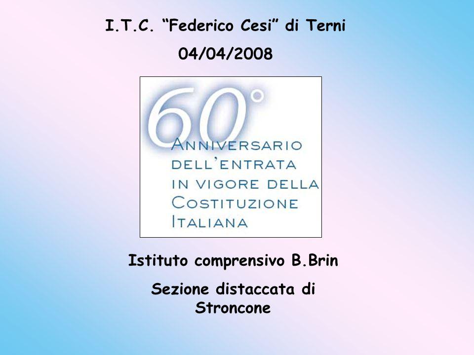 """Istituto comprensivo B.Brin Sezione distaccata di Stroncone I.T.C. """"Federico Cesi"""" di Terni 04/04/2008"""