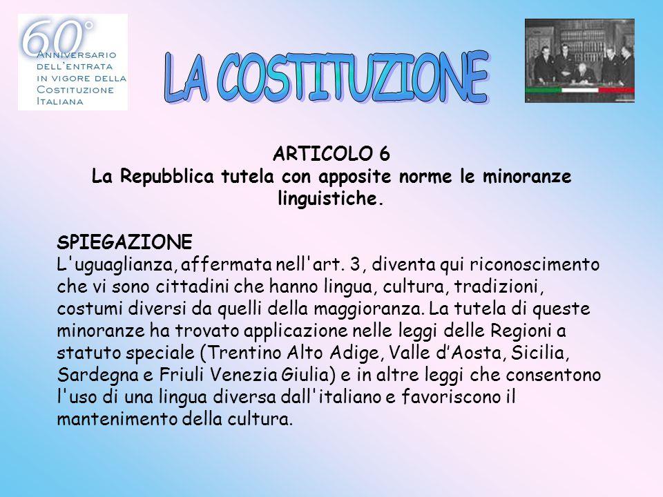 ARTICOLO 6 La Repubblica tutela con apposite norme le minoranze linguistiche. SPIEGAZIONE L'uguaglianza, affermata nell'art. 3, diventa qui riconoscim
