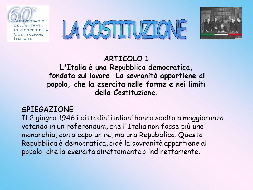 ARTICOLO 1 L'Italia è una Repubblica democratica, fondata sul lavoro. La sovranità appartiene al popolo, che la esercita nelle forme e nei limiti dell