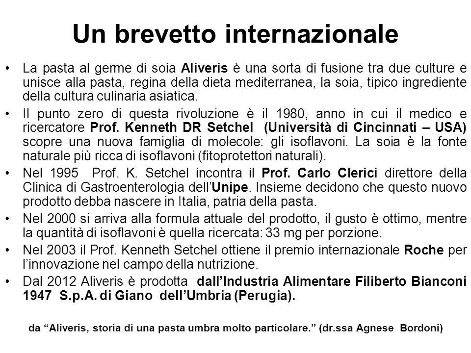 Un brevetto internazionale La pasta al germe di soia Aliveris è una sorta di fusione tra due culture e unisce alla pasta, regina della dieta mediterra