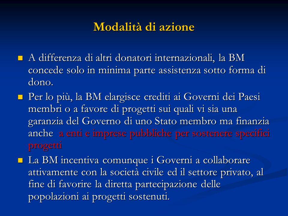 Modalità di azione A differenza di altri donatori internazionali, la BM concede solo in minima parte assistenza sotto forma di dono. A differenza di a