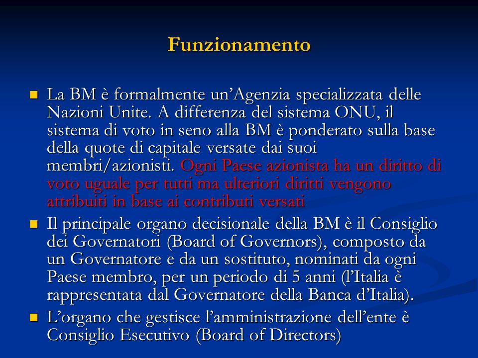 Funzionamento La BM è formalmente un'Agenzia specializzata delle Nazioni Unite. A differenza del sistema ONU, il sistema di voto in seno alla BM è pon