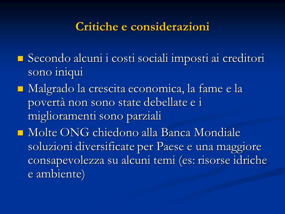 Critiche e considerazioni Secondo alcuni i costi sociali imposti ai creditori sono iniqui Secondo alcuni i costi sociali imposti ai creditori sono ini