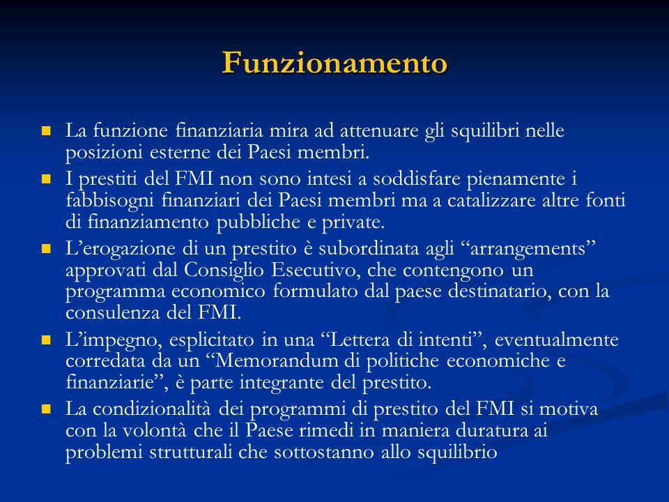 Funzionamento La funzione finanziaria mira ad attenuare gli squilibri nelle posizioni esterne dei Paesi membri. I prestiti del FMI non sono intesi a s