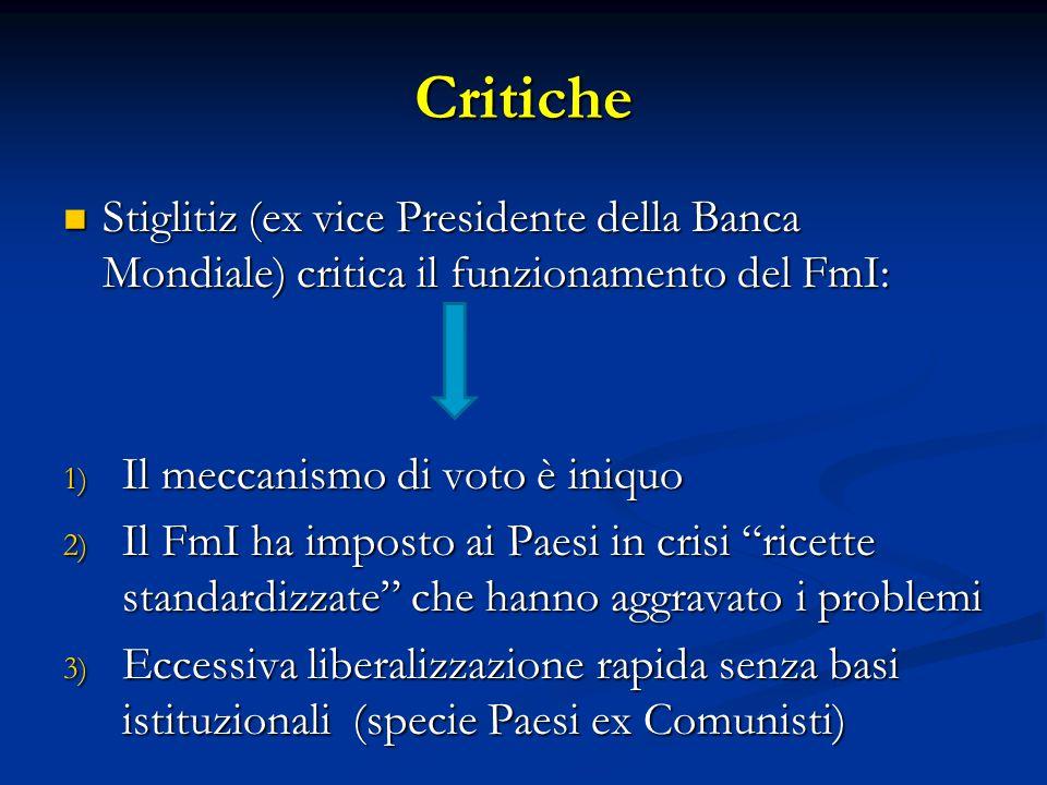 Critiche Stiglitiz (ex vice Presidente della Banca Mondiale) critica il funzionamento del FmI: Stiglitiz (ex vice Presidente della Banca Mondiale) cri