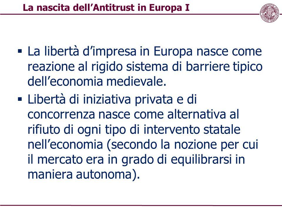  La libertà d'impresa in Europa nasce come reazione al rigido sistema di barriere tipico dell'economia medievale.  Libertà di iniziativa privata e d