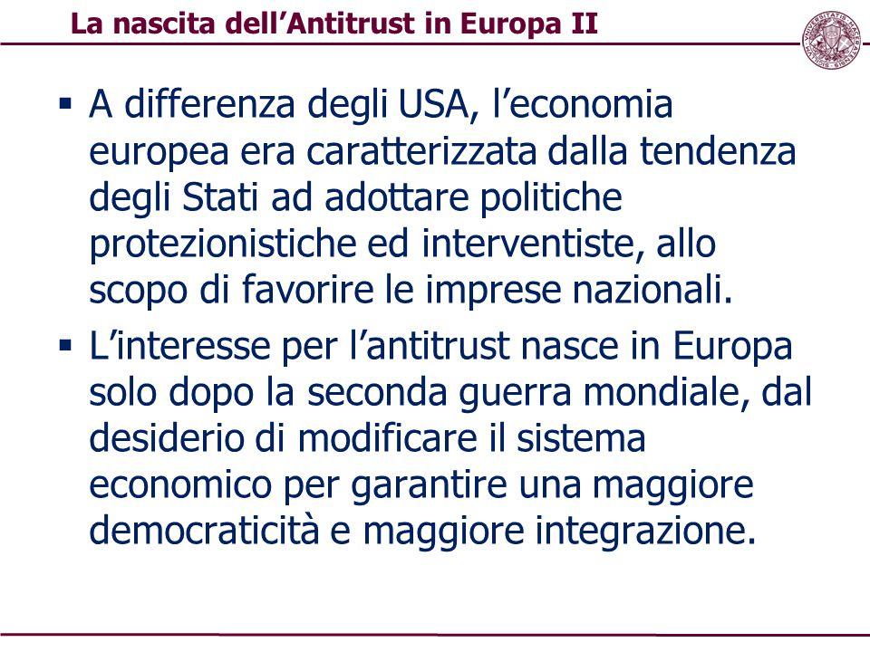  A differenza degli USA, l'economia europea era caratterizzata dalla tendenza degli Stati ad adottare politiche protezionistiche ed interventiste, al