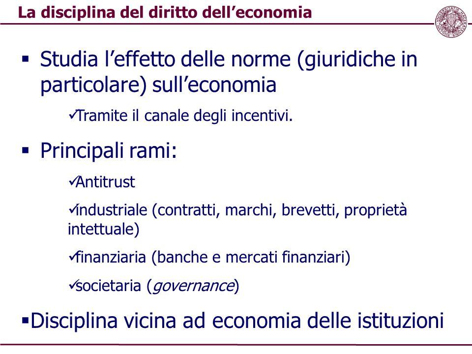 La disciplina del diritto dell'economia  Studia l'effetto delle norme (giuridiche in particolare) sull'economia Tramite il canale degli incentivi. 