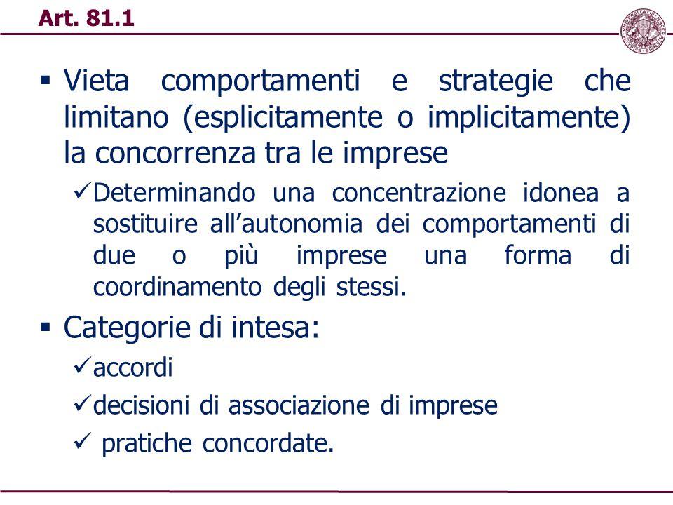  Vieta comportamenti e strategie che limitano (esplicitamente o implicitamente) la concorrenza tra le imprese Determinando una concentrazione idonea