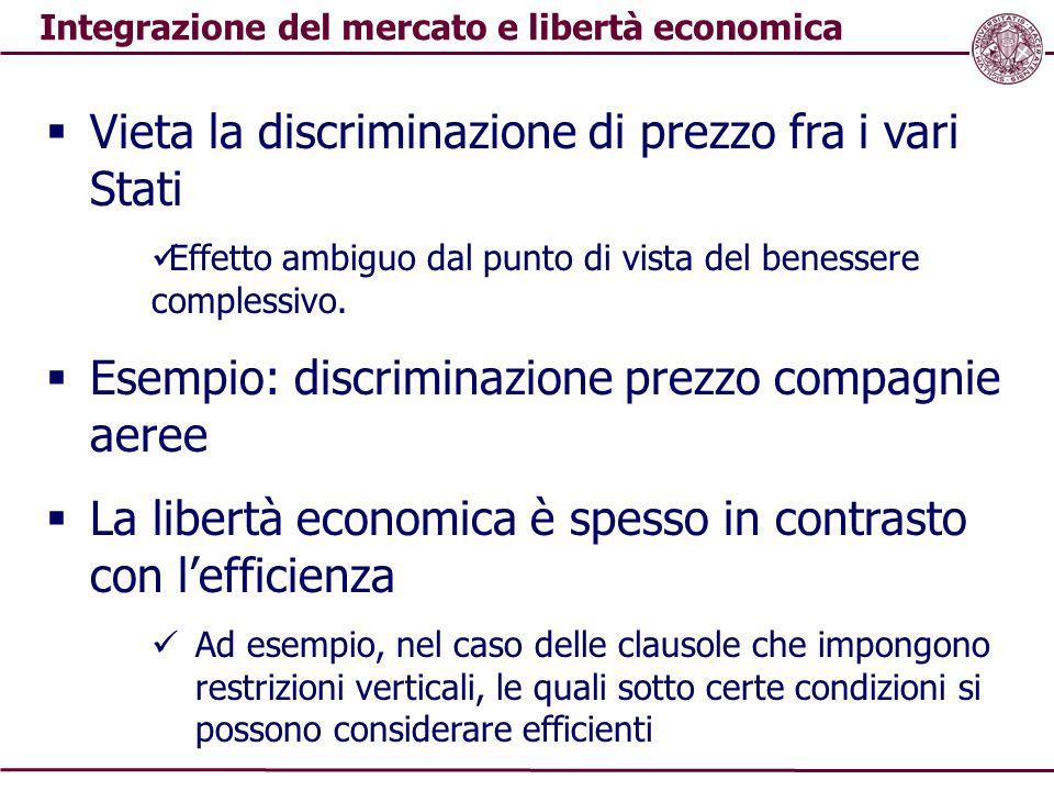 Integrazione del mercato e libertà economica  Vieta la discriminazione di prezzo fra i vari Stati Effetto ambiguo dal punto di vista del benessere co
