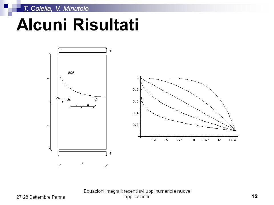Equazioni Integrali: recenti sviluppi numerici e nuove applicazioni12 27-28 Settembre Parma T. Colella, V. Minutolo Alcuni Risultati