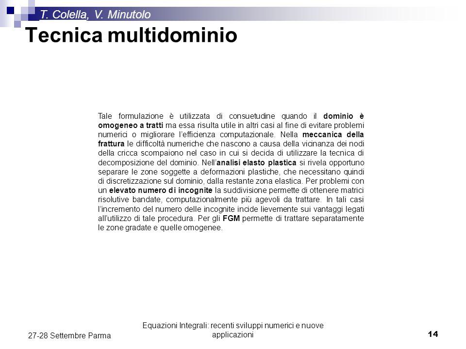 Equazioni Integrali: recenti sviluppi numerici e nuove applicazioni14 27-28 Settembre Parma Tecnica multidominio T. Colella, V. Minutolo Tale formulaz