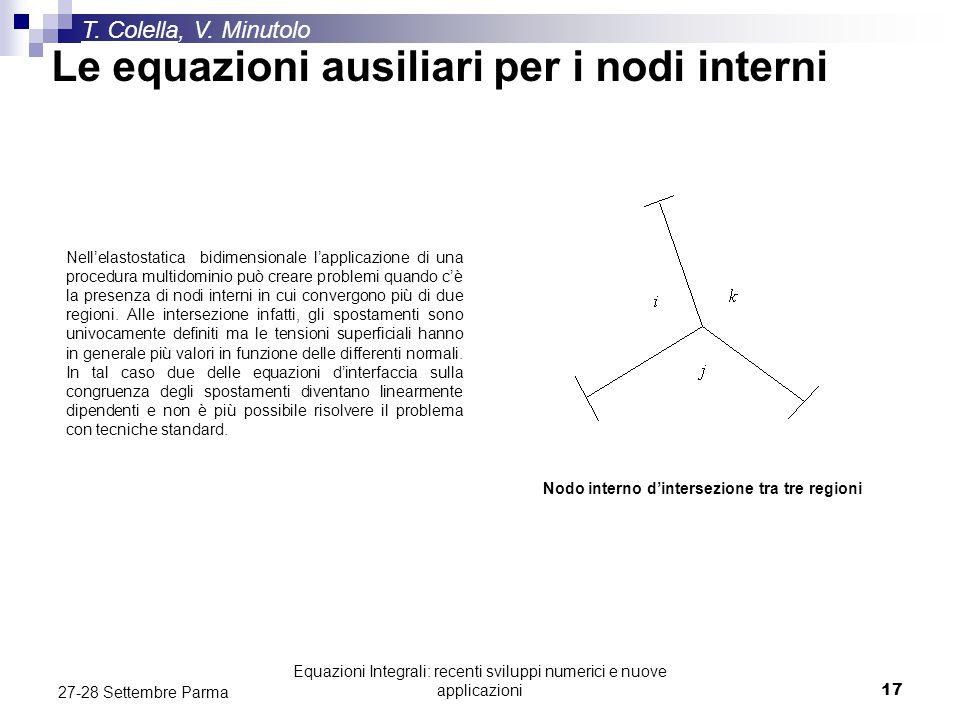 Equazioni Integrali: recenti sviluppi numerici e nuove applicazioni17 27-28 Settembre Parma T. Colella, V. Minutolo Le equazioni ausiliari per i nodi