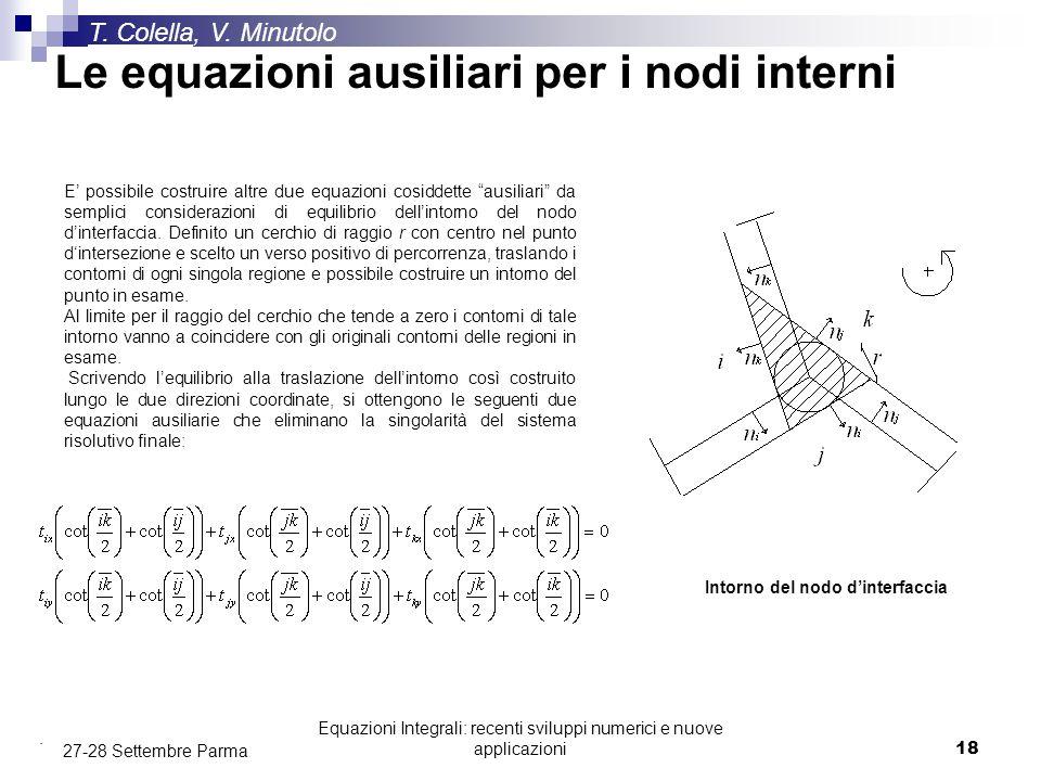 Equazioni Integrali: recenti sviluppi numerici e nuove applicazioni18 27-28 Settembre Parma T. Colella, V. Minutolo E' possibile costruire altre due e