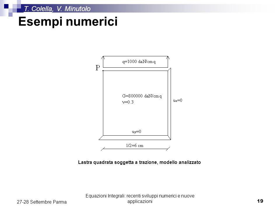 Equazioni Integrali: recenti sviluppi numerici e nuove applicazioni19 27-28 Settembre Parma T. Colella, V. Minutolo Esempi numerici Lastra quadrata so