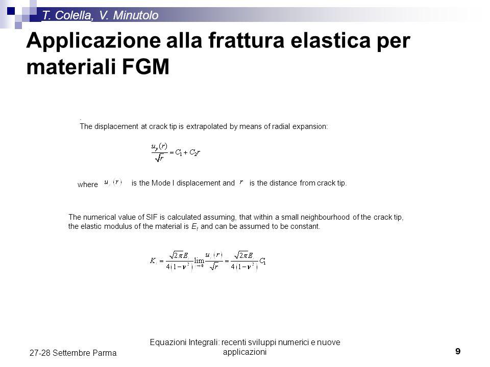 Equazioni Integrali: recenti sviluppi numerici e nuove applicazioni9 27-28 Settembre Parma Applicazione alla frattura elastica per materiali FGM T. Co