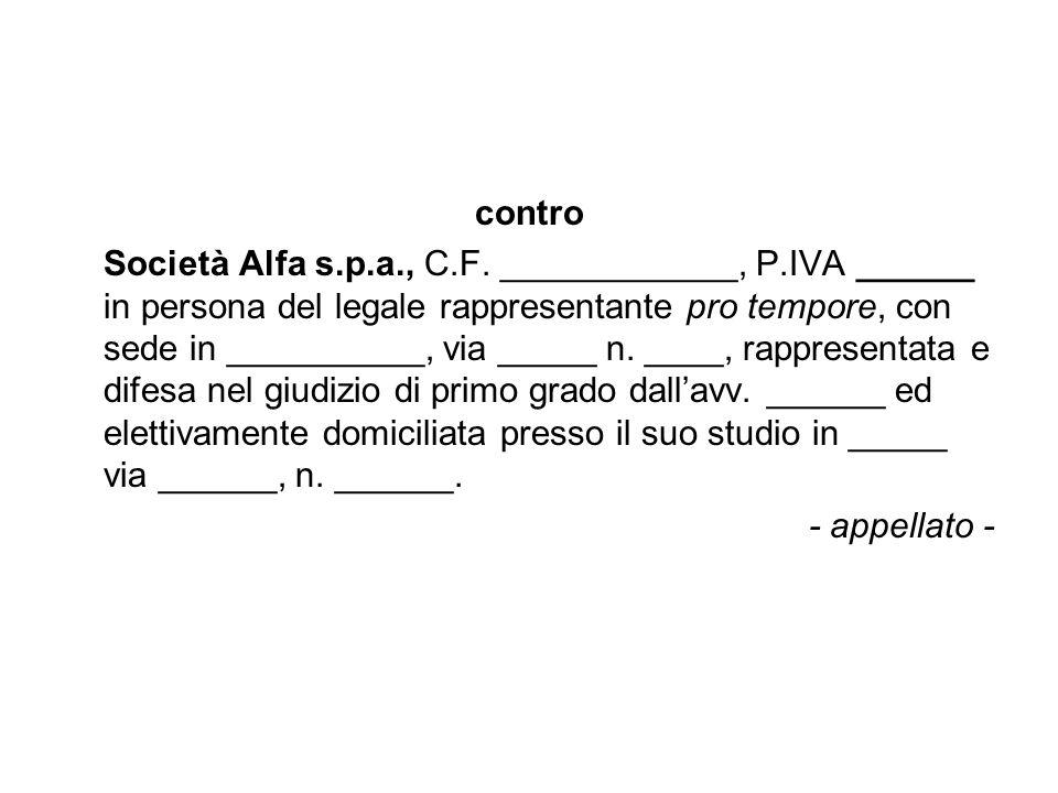 contro Società Alfa s.p.a., C.F. ____________, P.IVA ______ in persona del legale rappresentante pro tempore, con sede in __________, via _____ n. ___
