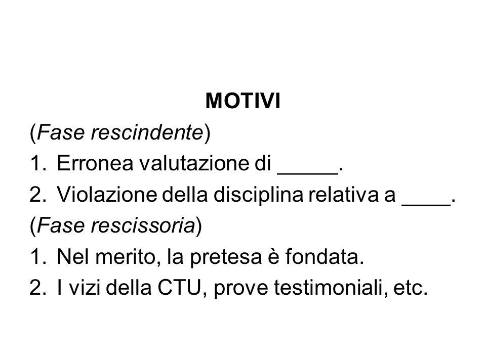MOTIVI (Fase rescindente) 1.Erronea valutazione di _____. 2.Violazione della disciplina relativa a ____. (Fase rescissoria) 1.Nel merito, la pretesa è