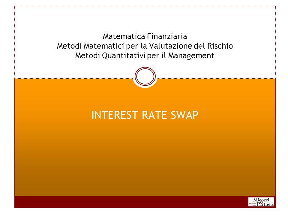 Matematica Finanziaria Metodi Matematici per la Valutazione del Rischio Metodi Quantitativi per il Management INTEREST RATE SWAP