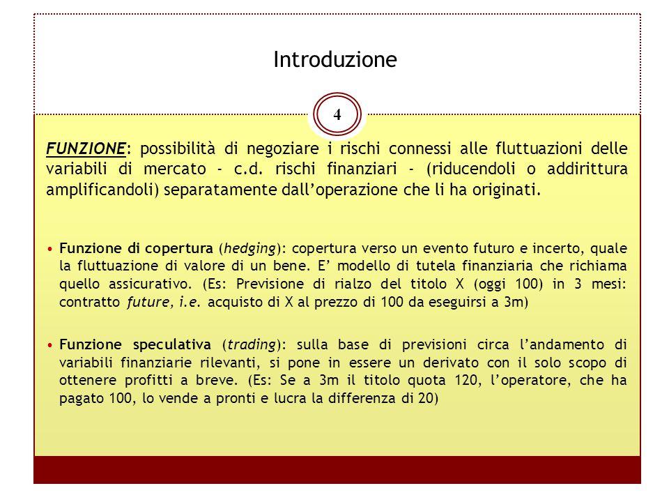 4 Introduzione FUNZIONE: possibilità di negoziare i rischi connessi alle fluttuazioni delle variabili di mercato - c.d. rischi finanziari - (riducendo