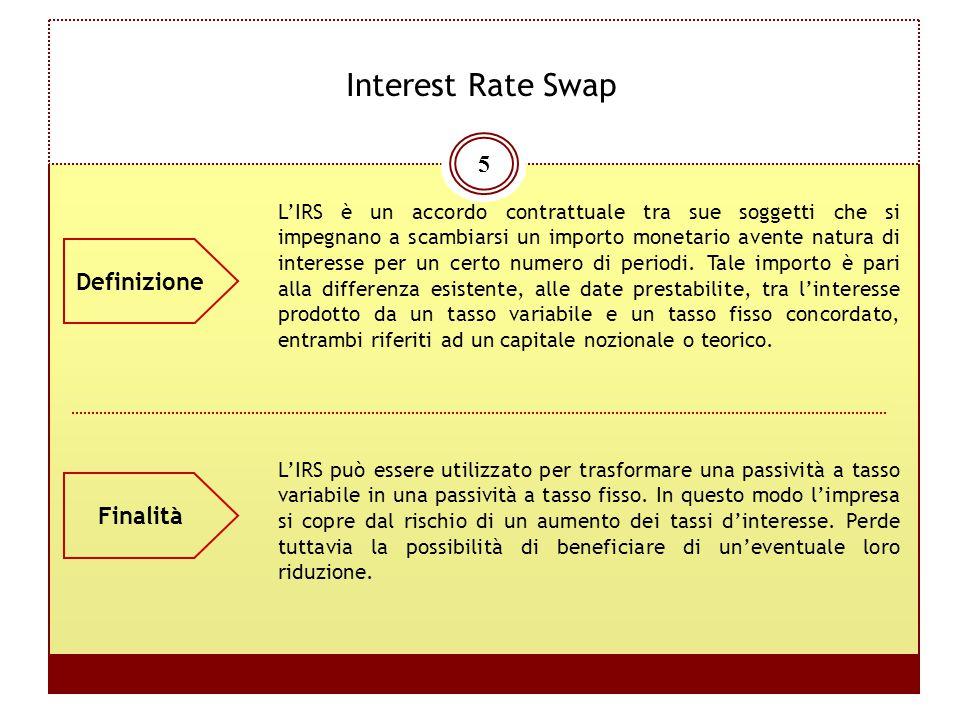 5 Interest Rate Swap L'IRS è un accordo contrattuale tra sue soggetti che si impegnano a scambiarsi un importo monetario avente natura di interesse pe