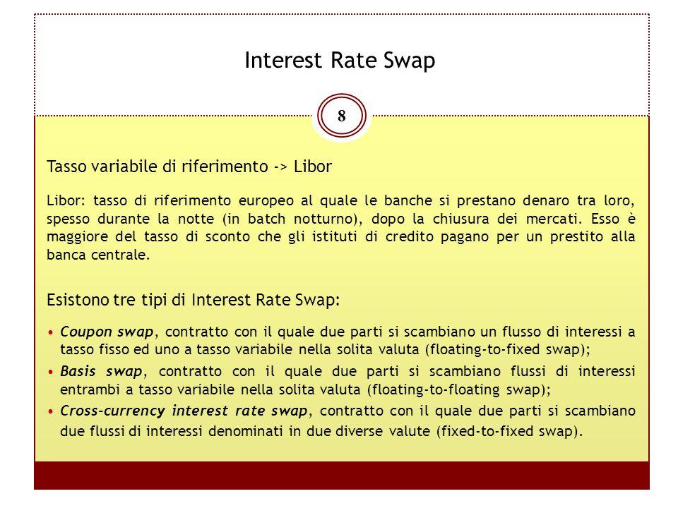 8 Interest Rate Swap Esistono tre tipi di Interest Rate Swap: Coupon swap, contratto con il quale due parti si scambiano un flusso di interessi a tass