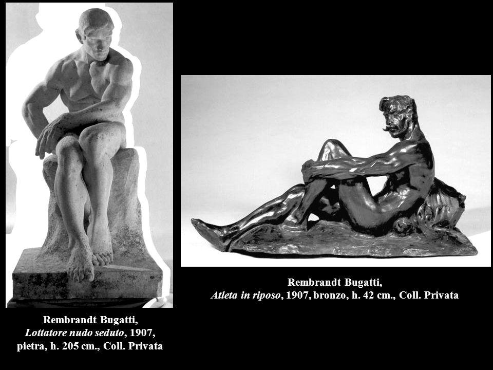 Rembrandt Bugatti, Lottatore nudo seduto, 1907, pietra, h.