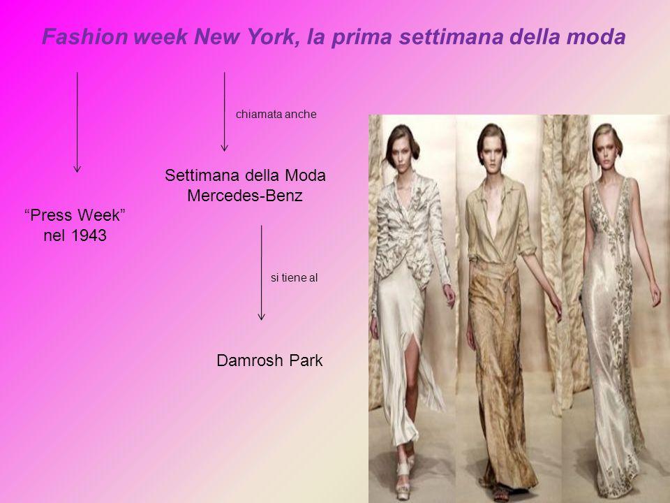 """Fashion week New York, la prima settimana della moda """"Press Week"""" nel 1943 Settimana della Moda Mercedes-Benz Damrosh Park si tiene al chiamata anche"""