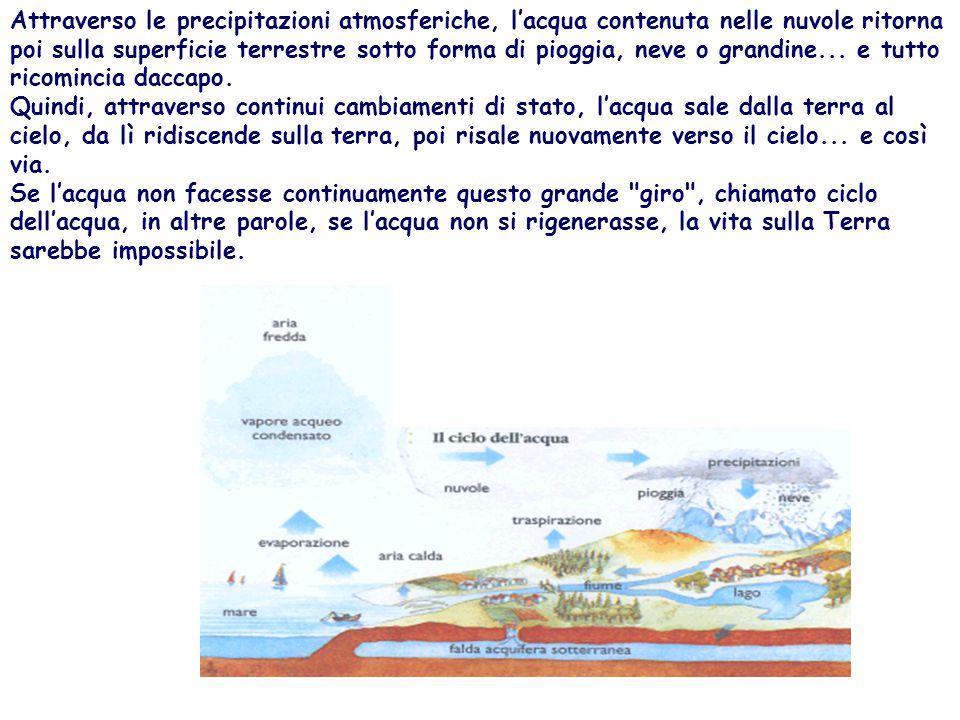 Attraverso le precipitazioni atmosferiche, l'acqua contenuta nelle nuvole ritorna poi sulla superficie terrestre sotto forma di pioggia, neve o grandine...