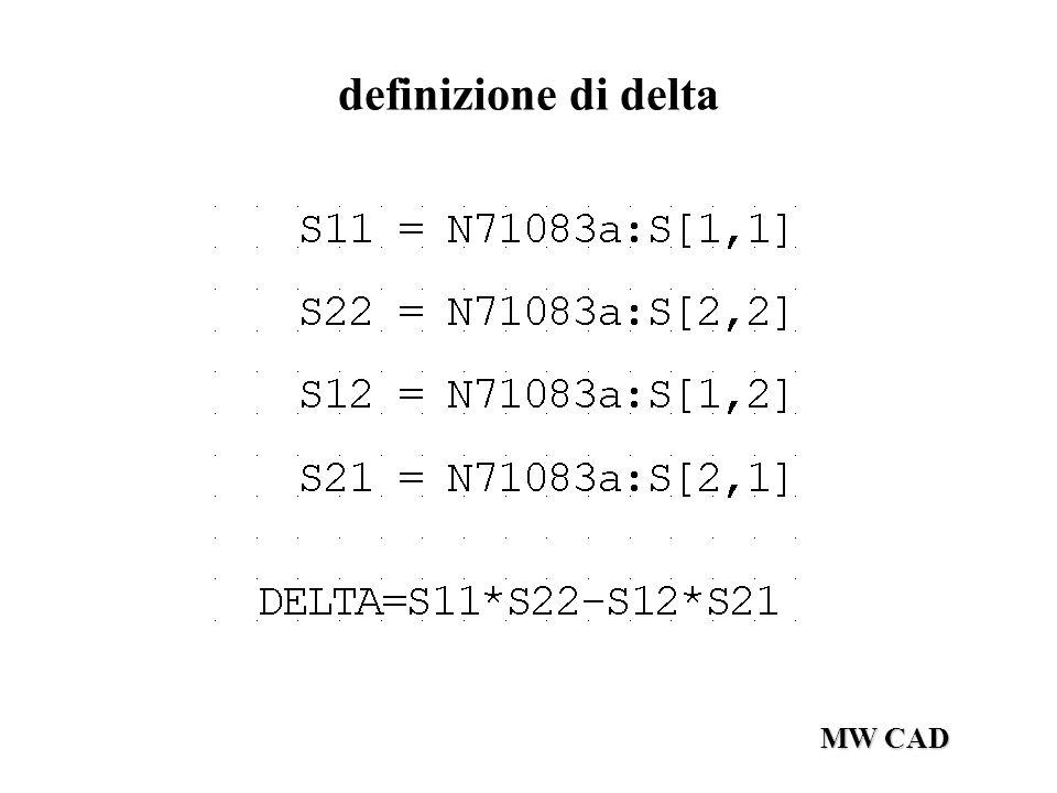 MW CAD definizione di delta