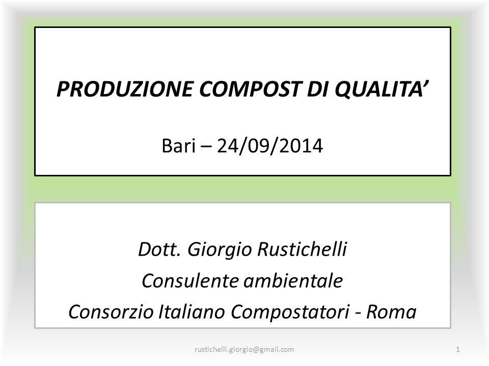 PRODUZIONE COMPOST DI QUALITA' Bari – 24/09/2014 Dott. Giorgio Rustichelli Consulente ambientale Consorzio Italiano Compostatori - Roma rustichelli.gi