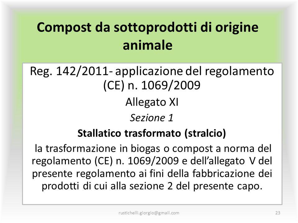 Compost da sottoprodotti di origine animale Reg. 142/2011- applicazione del regolamento (CE) n. 1069/2009 Allegato XI Sezione 1 Stallatico trasformato