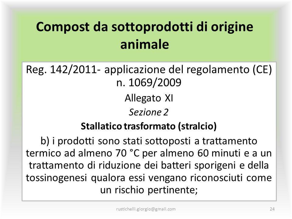 Compost da sottoprodotti di origine animale Reg. 142/2011- applicazione del regolamento (CE) n. 1069/2009 Allegato XI Sezione 2 Stallatico trasformato