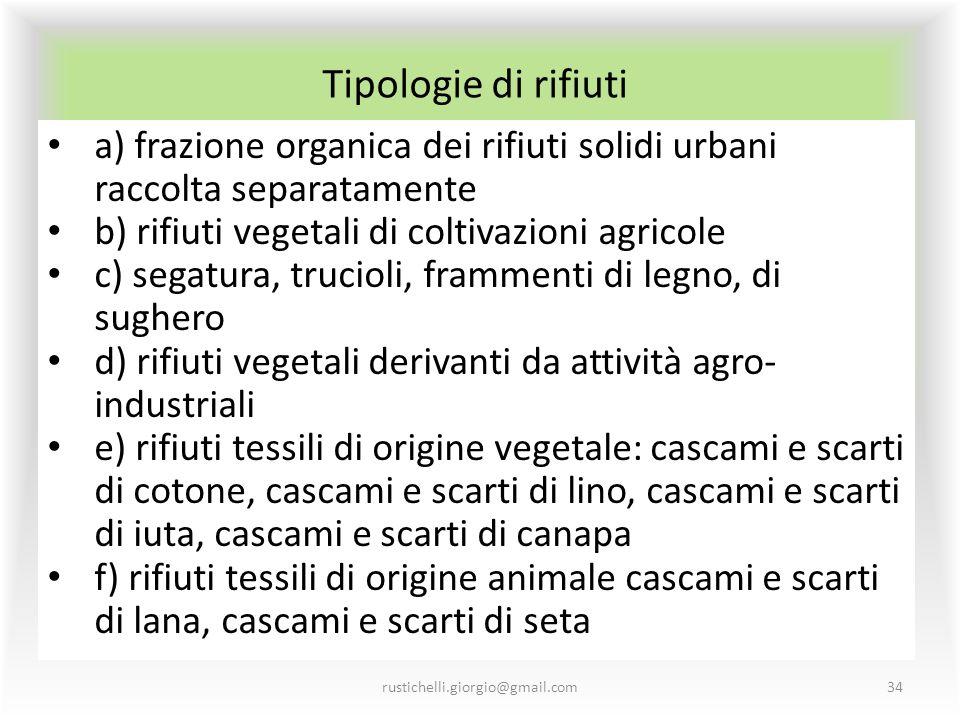 Tipologie di rifiuti rustichelli.giorgio@gmail.com34 a) frazione organica dei rifiuti solidi urbani raccolta separatamente b) rifiuti vegetali di colt