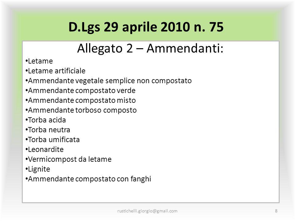 D.Lgs 29 aprile 2010 n. 75 Allegato 2 – Ammendanti: Letame Letame artificiale Ammendante vegetale semplice non compostato Ammendante compostato verde