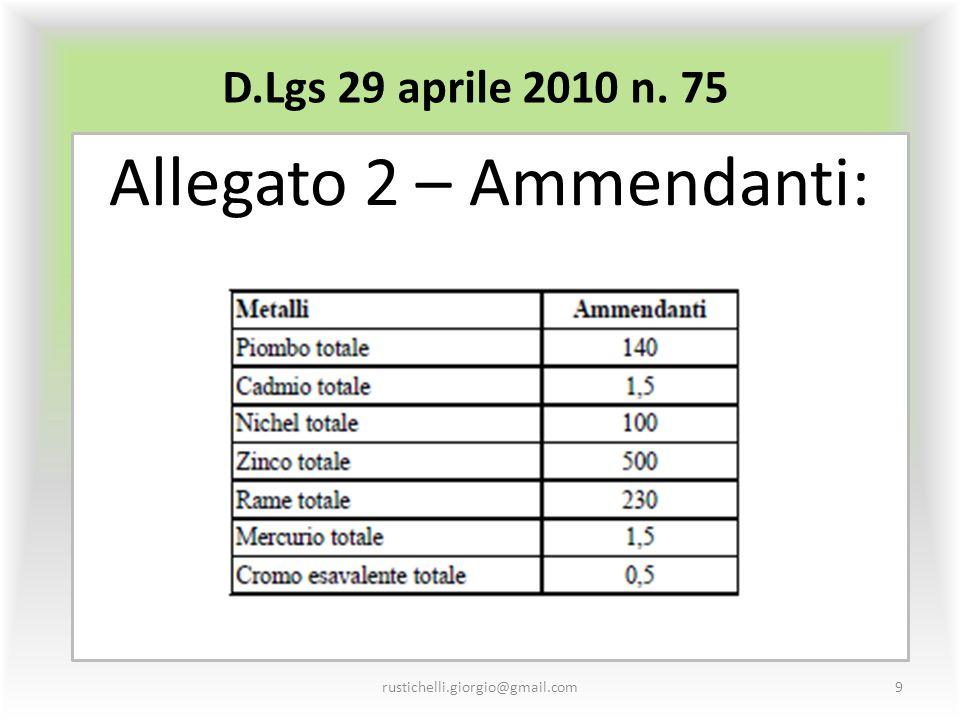 D.Lgs 29 aprile 2010 n. 75 Allegato 2 – Ammendanti: rustichelli.giorgio@gmail.com9