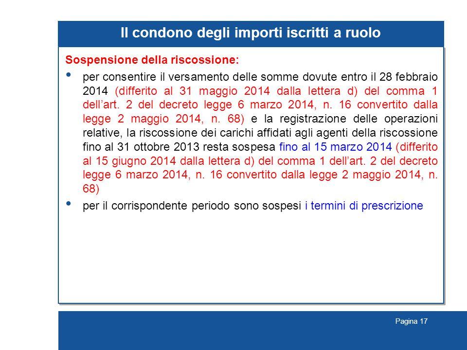 Pagina 17 Il condono degli importi iscritti a ruolo Sospensione della riscossione: per consentire il versamento delle somme dovute entro il 28 febbrai