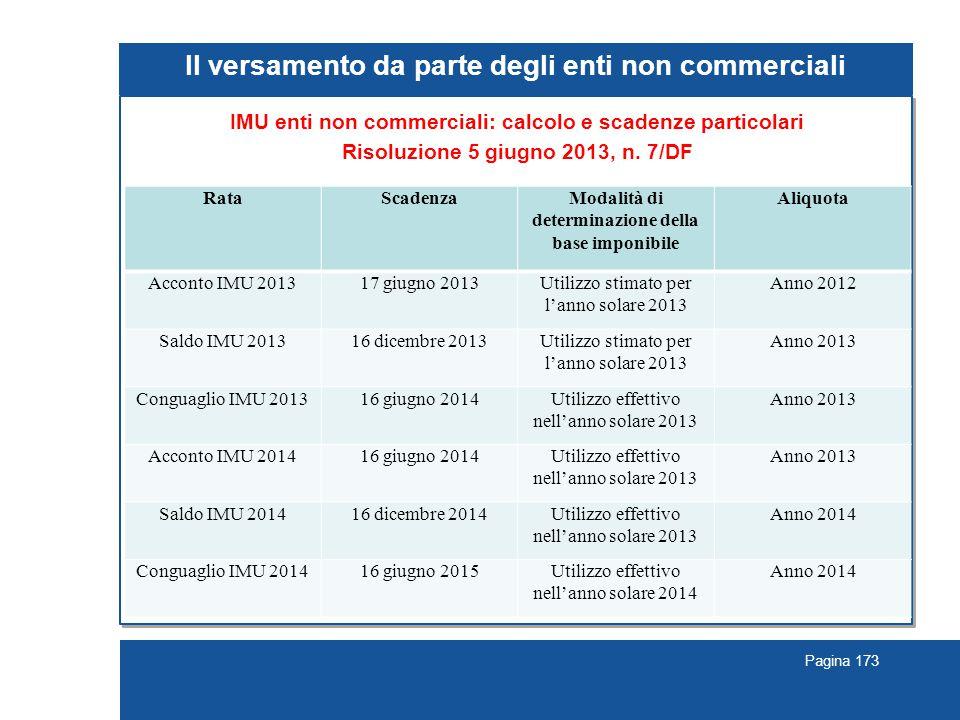Pagina 173 Il versamento da parte degli enti non commerciali IMU enti non commerciali: calcolo e scadenze particolari Risoluzione 5 giugno 2013, n. 7/