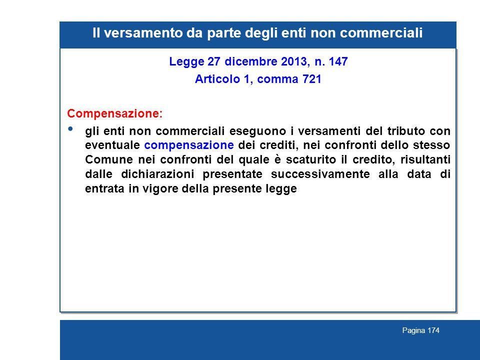 Pagina 174 Il versamento da parte degli enti non commerciali Legge 27 dicembre 2013, n. 147 Articolo 1, comma 721 Compensazione: gli enti non commerci