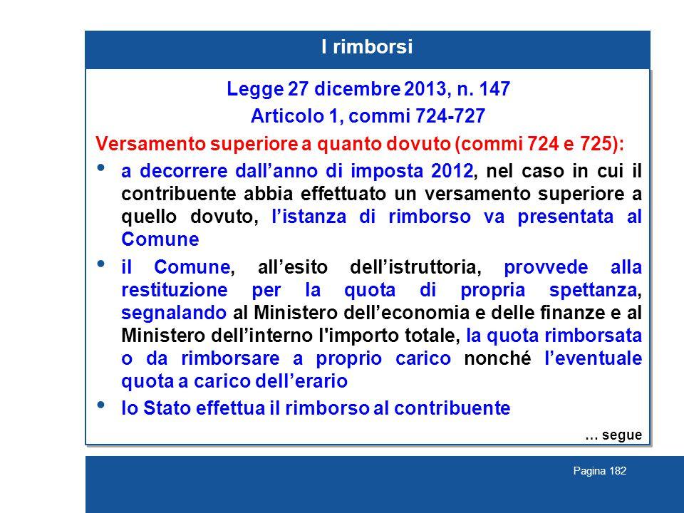 Pagina 182 I rimborsi Legge 27 dicembre 2013, n. 147 Articolo 1, commi 724-727 Versamento superiore a quanto dovuto (commi 724 e 725): a decorrere dal