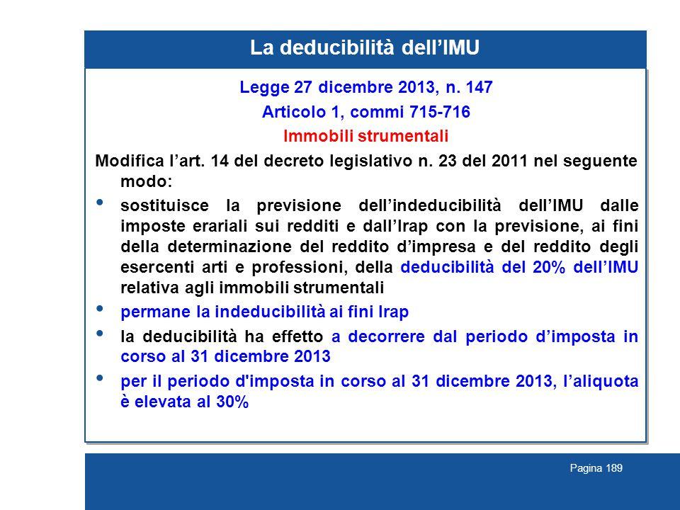 Pagina 189 La deducibilità dell'IMU Legge 27 dicembre 2013, n. 147 Articolo 1, commi 715-716 Immobili strumentali Modifica l'art. 14 del decreto legis