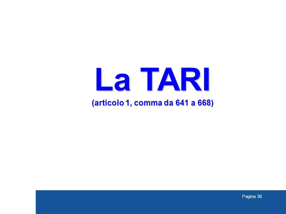 Pagina 30 La TARI (articolo 1, comma da 641 a 668)